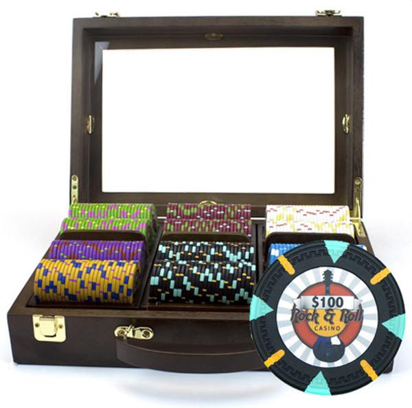 300 'Rock & Roll' Poker Chip Set with Walnut Case