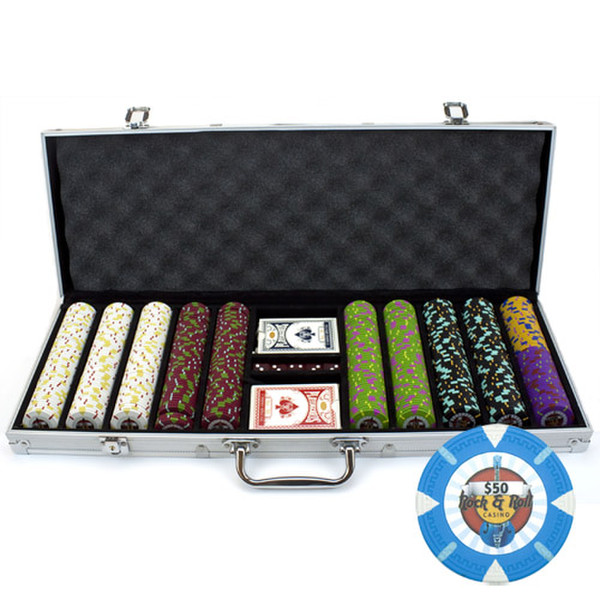 500 'Rock & Roll' Poker Chip Set with Aluminum Case