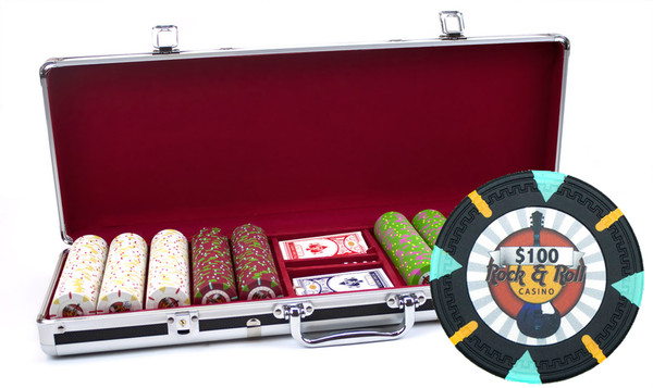 500 'Rock & Roll' Poker Chip Set with Black Aluminum Case