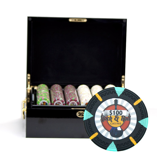 500 'Rock & Roll' Poker Chip Set with Black Mahogany Case