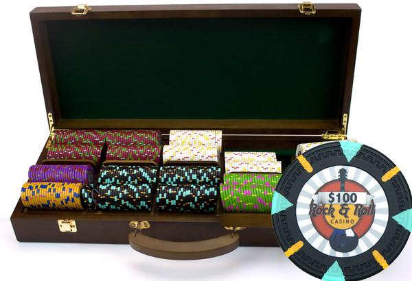 500 'Rock & Roll' Poker Chip Set with Walnut Case