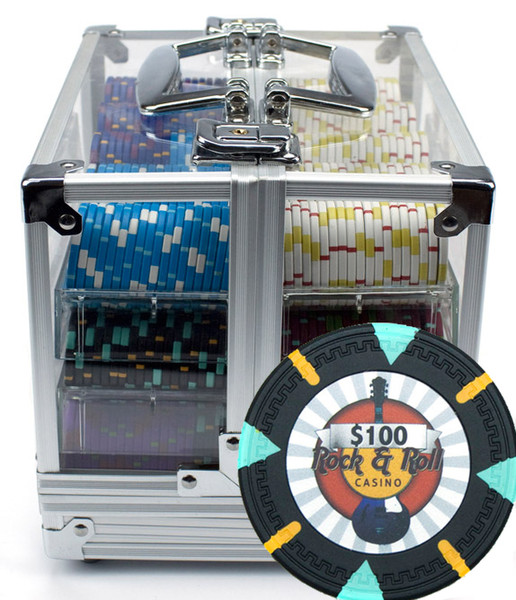 600 'Rock & Roll' Poker Chip Set with Acrylic Carrying Case