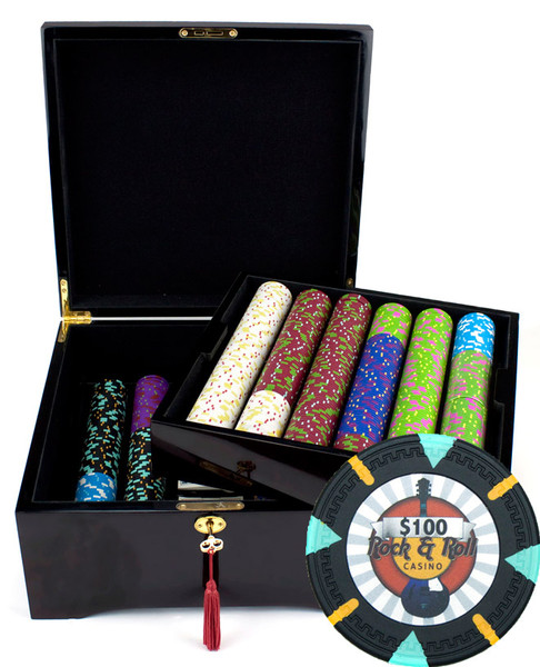 750 'Rock & Roll' Poker Chip Set with Mahogany Case