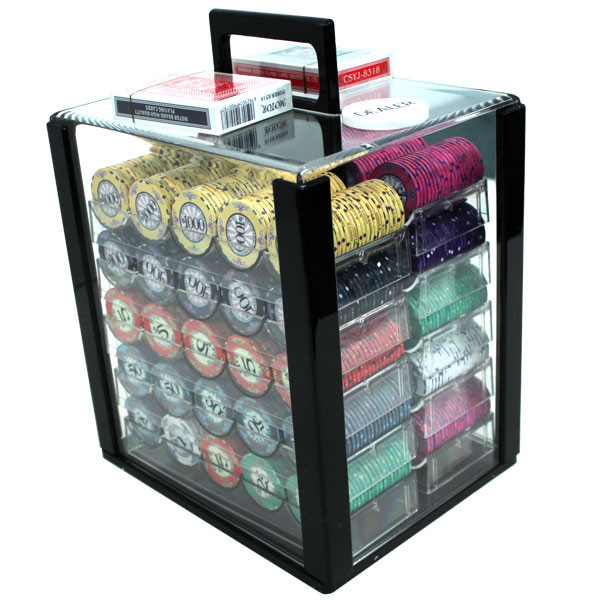 1,000 Scroll Poker Chip Set with Acrylic Carrying Case