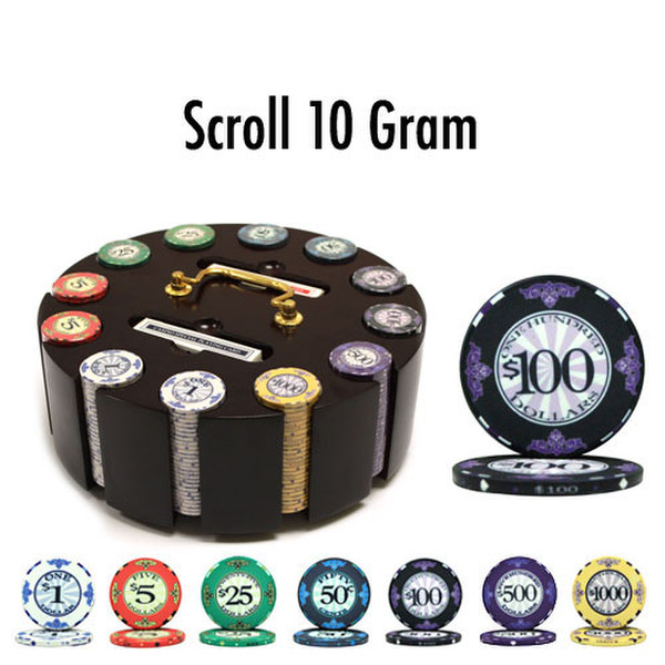 300 Scroll Poker Chip Set with Wooden Carousel