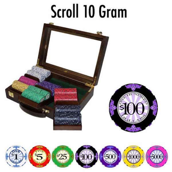 300 Scroll Poker Chip Set with Walnut Case