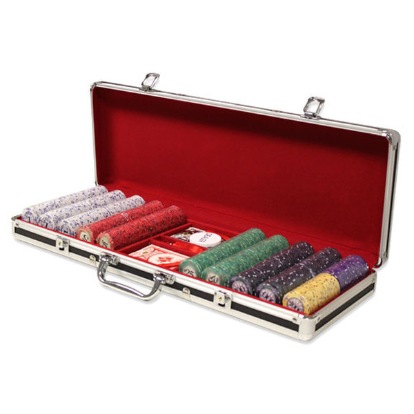 500 Scroll Poker Chip Set with Black Aluminum Case