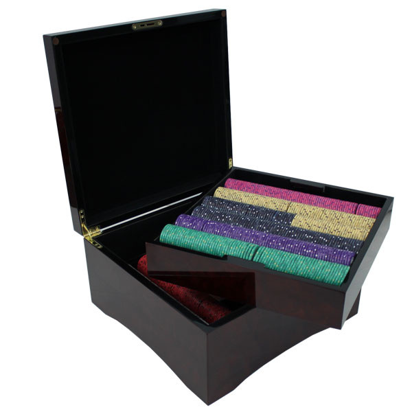 750 Scroll Poker Chip Set with Mahogany Case