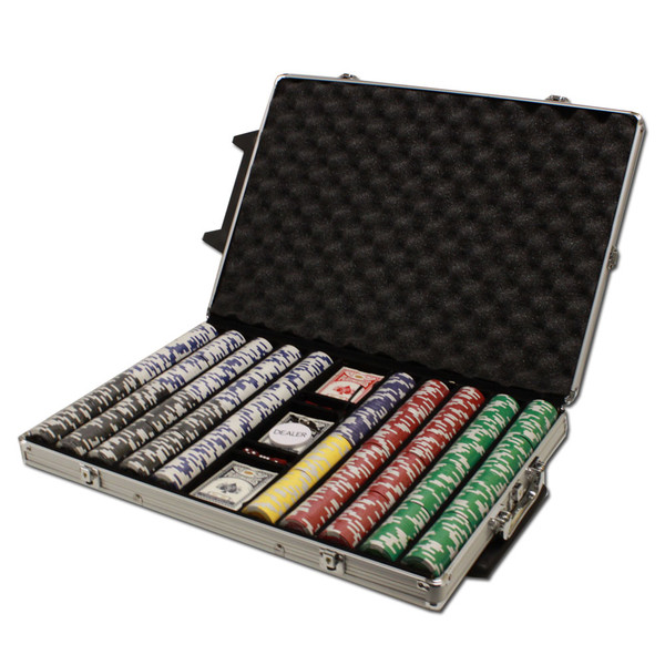 1,000 Tournament Pro Poker Chip Set with Rolling Case