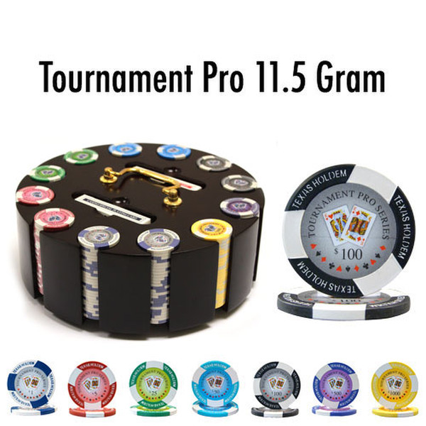 300 Tournament Pro Poker Chip Set with Wooden Carousel