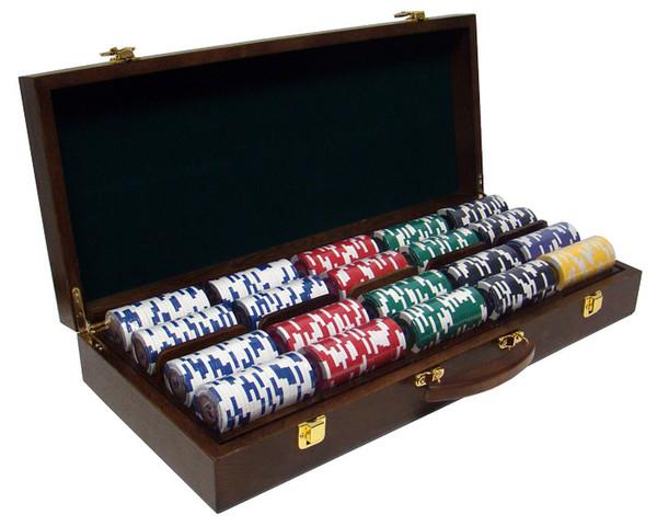 500 Tournament Pro Poker Chip Set with Walnut Case