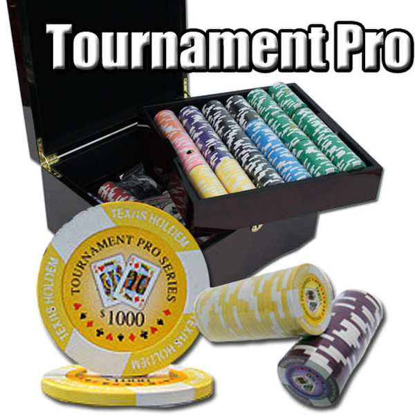 750 Tournament Pro Poker Chip Set with Mahogany Case
