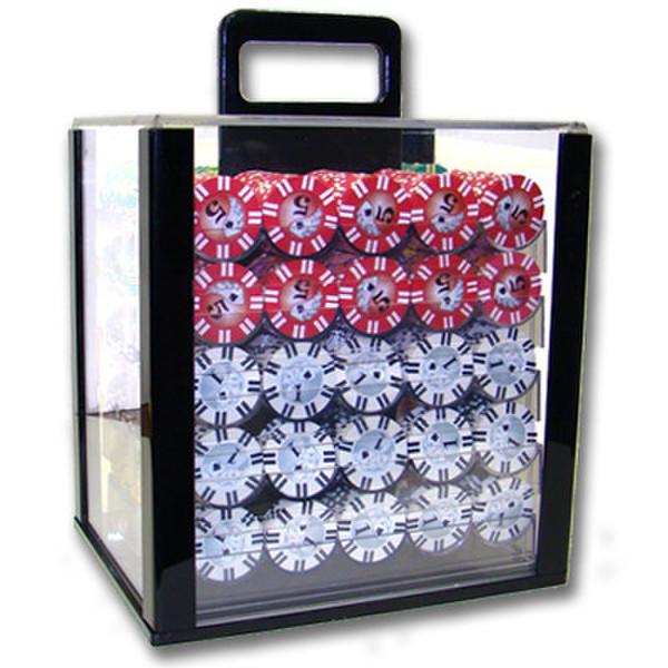 1,000 2 Stripe Twist Poker Chip Set with Acrylic Case