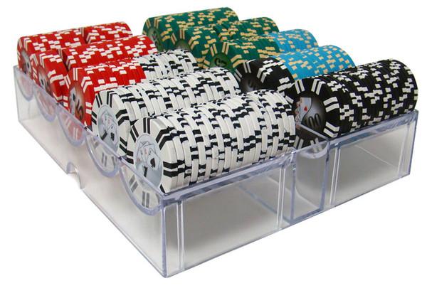 200 2 Stripe Twist Poker Chip Set with Acrylic Tray