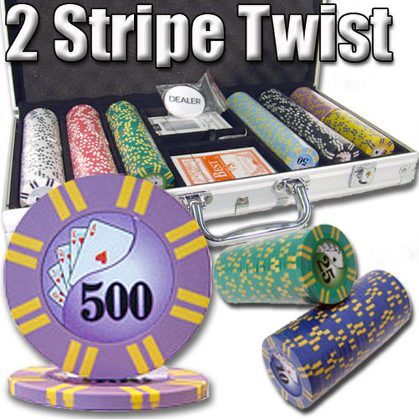 300 2 Stripe Twist Poker Chip Set with Aluminum Case
