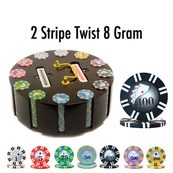 300 2 Stripe Twist Poker Chip Set with Wooden Carousel