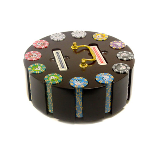 300 2 Stripe Twist Poker Chip Set with Wooden Carousel