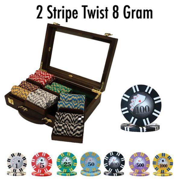 300 2 Stripe Twist Poker Chip Set with Walnut Case