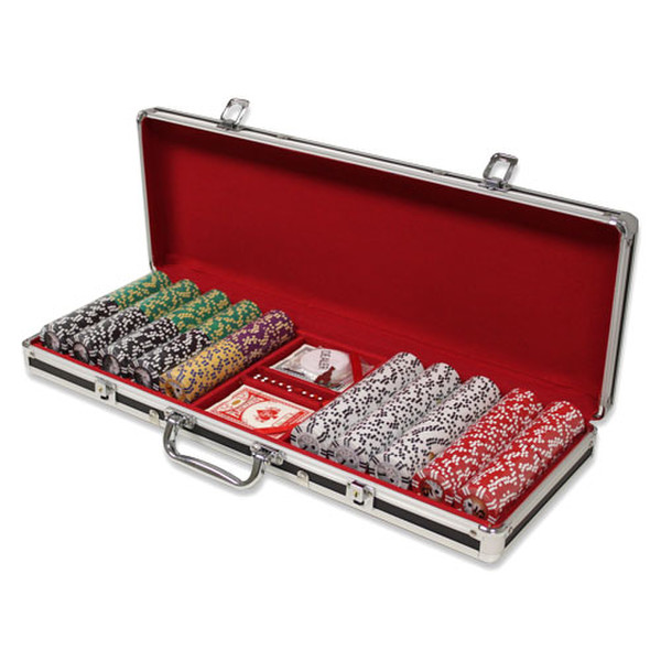 500 2 Stripe Twist Poker Chip Set with Black Aluminum Case