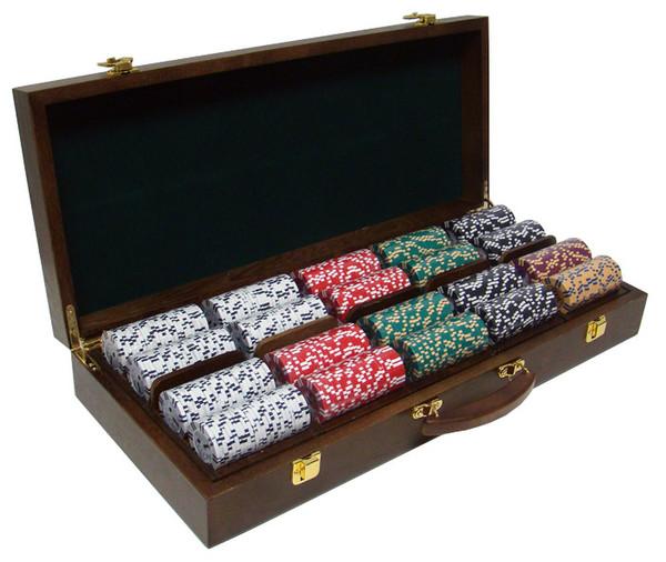 500 2 Stripe Twist Poker Chip Set with Walnut Case