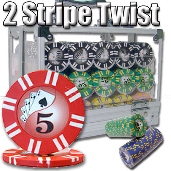 600 2 Stripe Twist Poker Chip Set with Acrylic Carrying Case