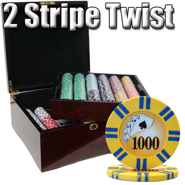 750 2 Stripe Twist Poker Chip Set with Mahogany Case