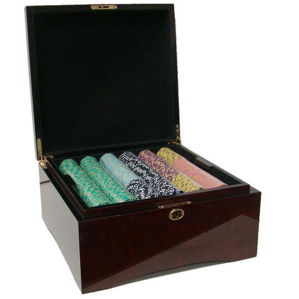 750 2 Stripe Twist Poker Chip Set with Mahogany Case