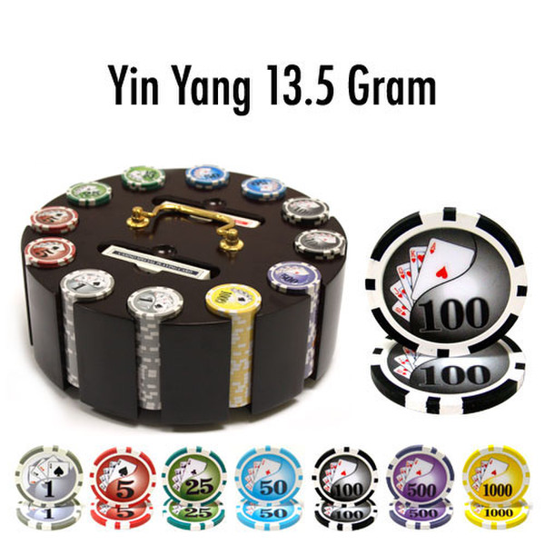 300 Yin Yang Poker Chip Set with Wooden Carousel