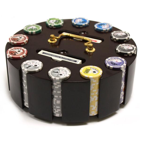 300 Yin Yang Poker Chip Set with Wooden Carousel