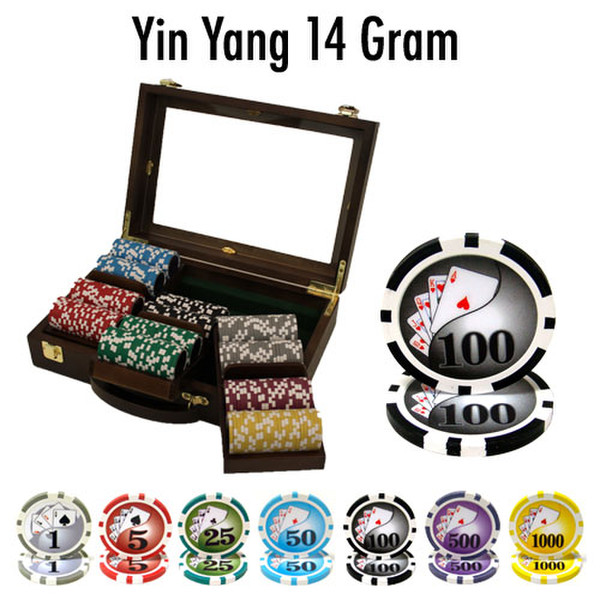 300 Yin Yang Poker Chip Set with Walnut Case