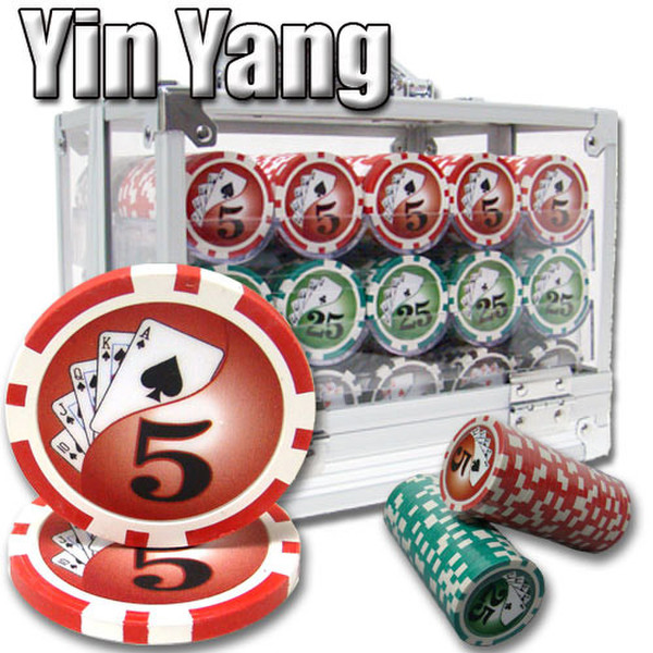 600 Yin Yang Poker Chip Set with Acrylic Carrying Case