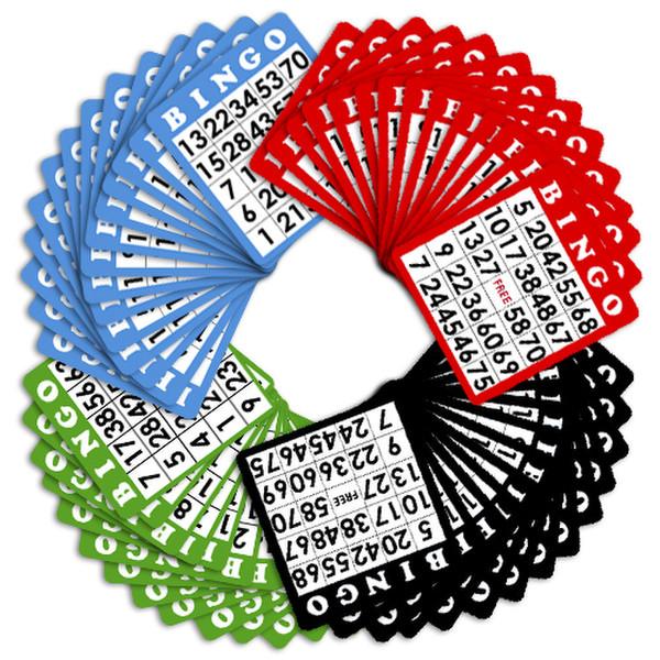 100 Bingo Cards (Four Different Colors)