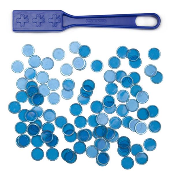 Blue Magnetic Bingo Wand with 100 Metallic Bingo Chips