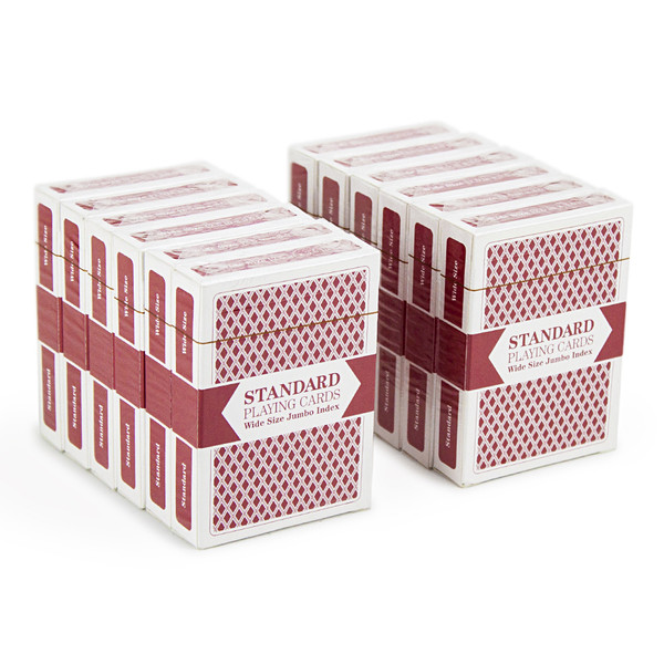 12 Red Decks of Wide Size, Jumbo Index Playing Cards