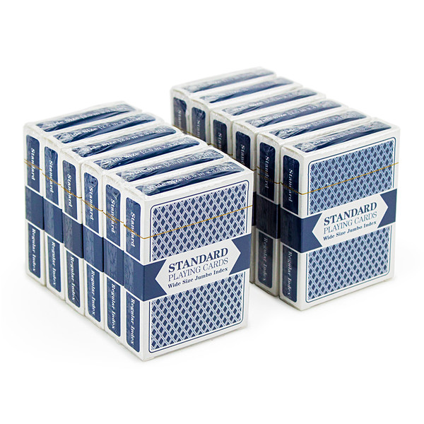 12 Blue Decks of Wide Size, Jumbo Index Playing Cards
