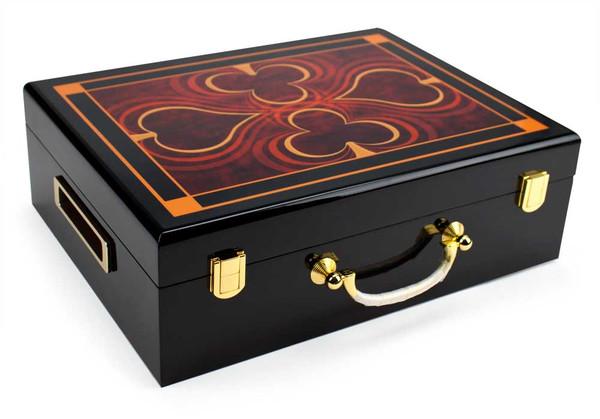 500 Chip Hi-Gloss Wooden Poker Case