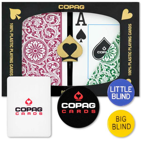 Copag Dealer Kit - 1546 Green/Burgundy Poker Jumbo