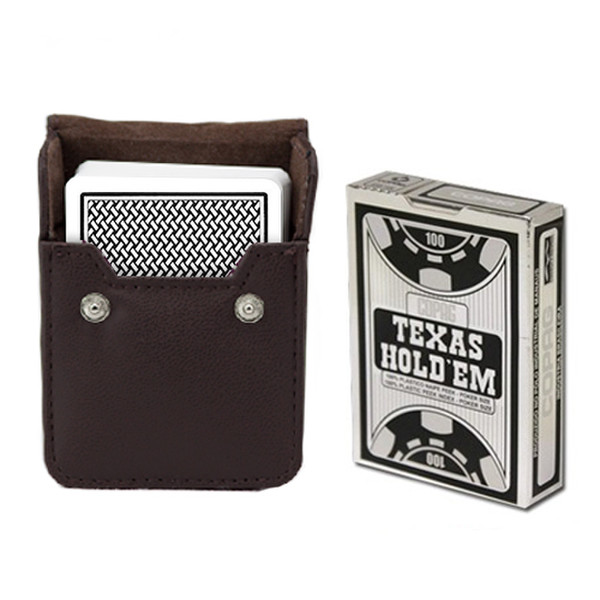 Copag Hold'Em Black Poker Size Peek Index Deck with Leather Case