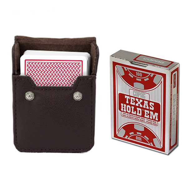 Copag Hold 'Em Red Poker Size Peek Index Deck with Leather Case