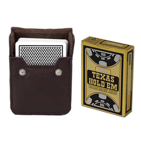 Copag Hold'Em Black Poker Jumbo Index Deck with Leather Case