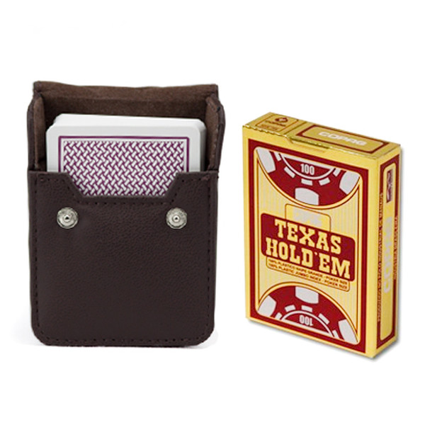 Copag Hold'Em Burgundy Poker-Jumbo Deck with Leather Case