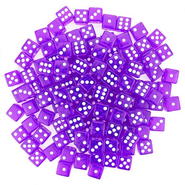 100 Purple Dice - 16 mm
