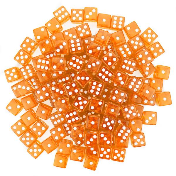 100 Orange Dice - 16 mm