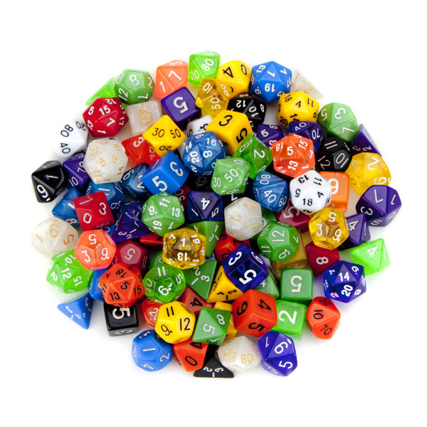100 Random Polyhedral Dice with  Free Pouch