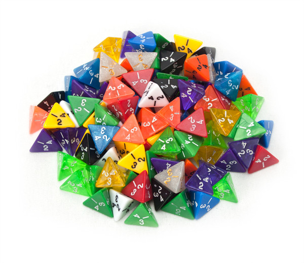 100 Random D4 Polyhedral Dice in Multiple Colors