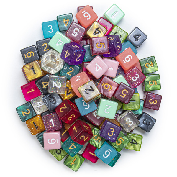 100 Random D6 Polyhedral Dice in Multiple Colors