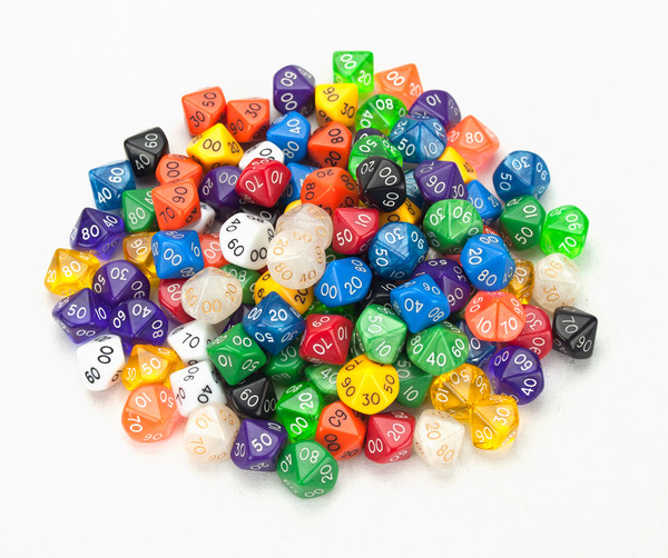 100 Random D10 (00) Dice in Multiple Colors