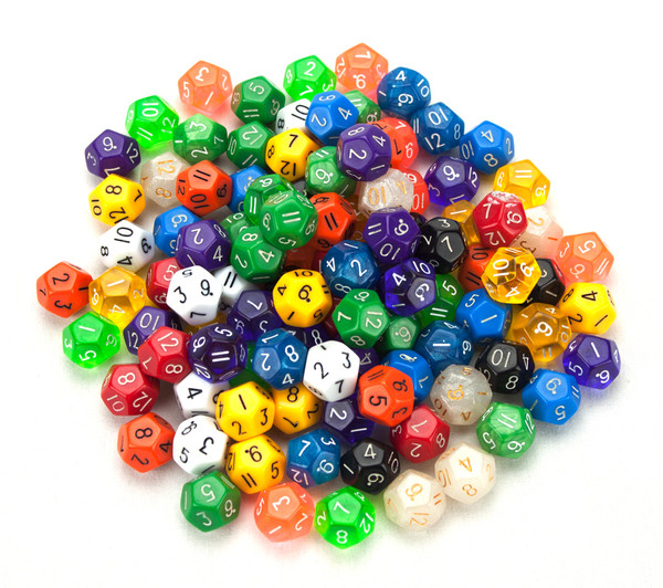 100 Random D12 Polyhedral Dice in Multiple Color