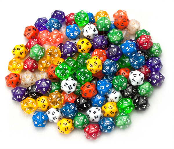 100 Random D20 Polyhedral Dice in Multiple Color
