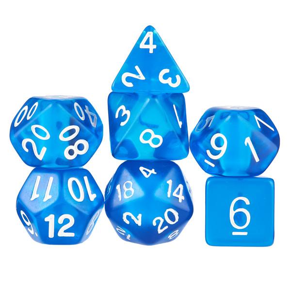 7 Die Polyhedral Dice Set in Velvet Pouch- Translucent Blue